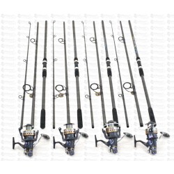 Set Crap 4 Lansete FINO CARP 3,3m cu 4 Mulinete J3FR 10+1 Rulmenti Si Baitrunner