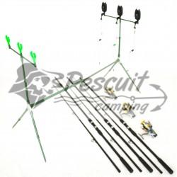 Kit Pescuit 3 Lansete 3 Mulinete 9 Rulm Si Baitrunner,Rod Pod Full Echipat