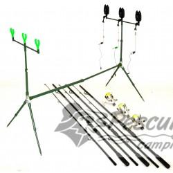 Kit 02 Complet Pescuit 3 Lansete 3 Mulinete Si Rod Pod Full Echipat