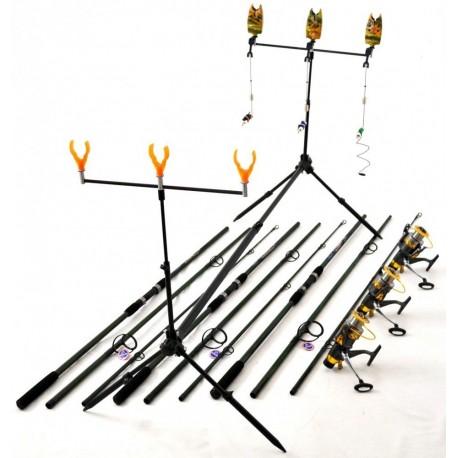 Kit Complet 3.6m Crap 3 Lansete,Mulinete Rod Pod Full Cu Avertizori Si Swingeri